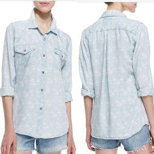 Rails floral denim chambray button up shirt Sz m